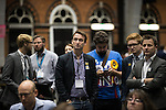 © Joel Goodman - 07973 332324 . 24/06/2016 . Manchester , UK . REMAIN supporters including Cllr JOHN LEECH (c) watch results on TV screens at the EU referendum at Manchester Central Convention Centre . Photo credit : Joel Goodman