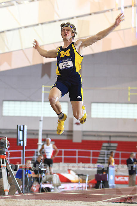 The University of Michigan men's  Track and Field team compete on the first day of the 2015 NCAA Indoor Track and Field Championship. Fayetteville, AR. March 13-14, 2015