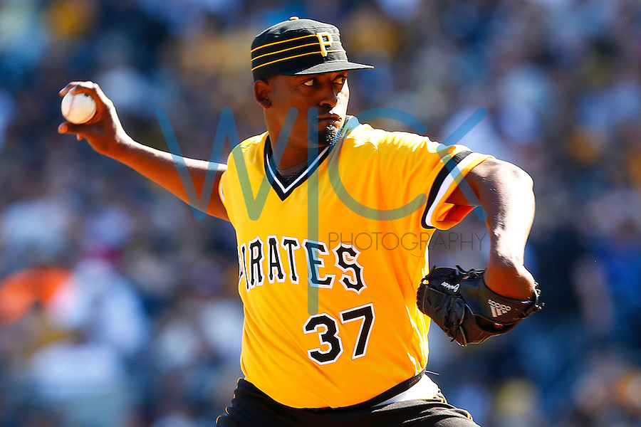 Arquimedes Caminero #37 of the Pittsburgh Pirates pitches against the Milwaukee Brewers during the game at PNC Park in Pittsburgh, Pennsylvania on April 17, 2016. (Photo by Jared Wickerham / DKPS)