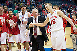 Wisconsin Badgers Head Coach Bo Ryan and forward Sam Dekker (15) share a moment after the third-round game in the NCAA college basketball tournament against the Oregon Ducks Saturday, April 22, 2014 in Milwaukee. The Badgers won 85-77. (Photo by David Stluka)