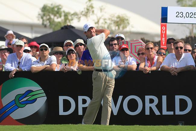 Dubai World Championship Golf. Earth Course,.Jumeirah Golf Estate, Dubai, U.A.E...Padraig Harrington teeing off on the 1st during the second round of the Dubai World Golf championship..Photo: Fran Caffrey/www.golffile.ie...