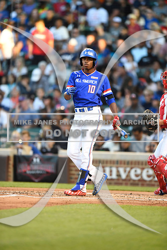 Joe Gray (10) of Hattiesburg High School in Hattiesburg, Mississippi during the Under Armour All-American Game presented by Baseball Factory on July 29, 2017 at Wrigley Field in Chicago, Illinois.  (Mike Janes/Four Seam Images)