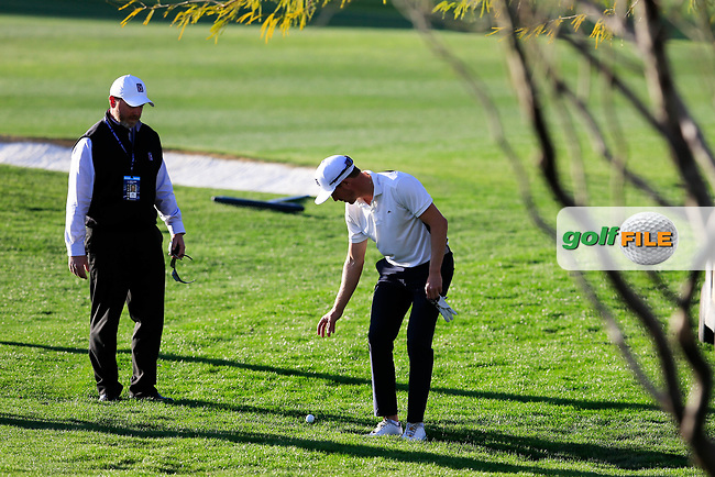 Jonas Blixt (SWE) droping on the 8th fairway during the 1st round of the Waste Management Phoenix Open, TPC Scottsdale, Scottsdale, Arisona, USA. 31/01/2019.<br /> Picture Fran Caffrey / Golffile.ie<br /> <br /> All photo usage must carry mandatory copyright credit (© Golffile | Fran Caffrey)