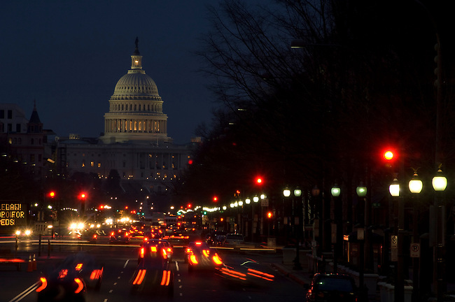 Washington D. C., Capitol Building, night, traffic, not released