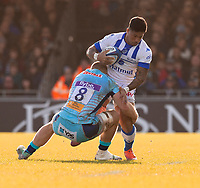 Castres David Smith is tackled by Exeter Chiefs' Matt Kvesic<br /> <br /> Photographer Bob Bradford/CameraSport<br /> <br /> European Rugby Heineken Champions Cup Pool 2 - Exeter Chiefs v Castres - Sunday 13th January 2019 - Sandy Park - Exeter<br /> <br /> World Copyright © 2019 CameraSport. All rights reserved. 43 Linden Ave. Countesthorpe. Leicester. England. LE8 5PG - Tel: +44 (0) 116 277 4147 - admin@camerasport.com - www.camerasport.com