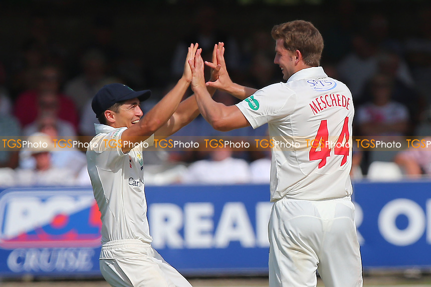 Craig Meschede of Glamorgan (R) celebrates taking the wicket of Tom Westley during Essex CCC vs Glamorgan CCC, Specsavers County Championship Division 2 Cricket at the Essex County Ground on 13th September 2016