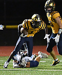 Althoff wide receiver Jayden Cosey (top) breaks a tackle by Mater Dei's Brock Timmermann as he carries the ball. Mater Dei played football at Althoff on Friday September 13, 2019. <br /> Tim Vizer/Special to STLhighschoolsports.com