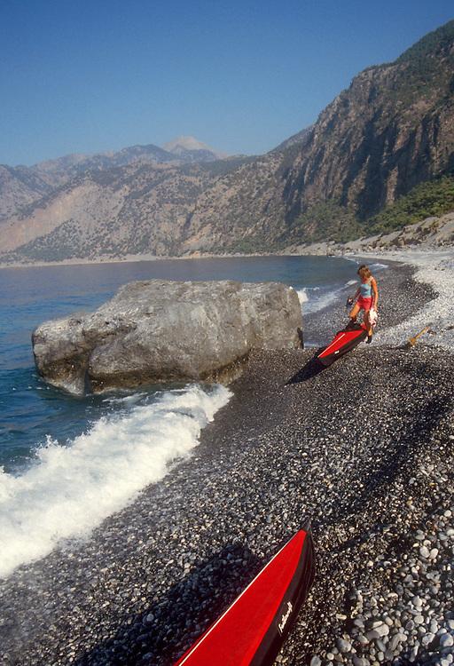 Crete, Greece, kayakers camping on the southwest coast near Ayia Roumeli, Mediterranean Sea, Europe, Sarah Shannon, released,.