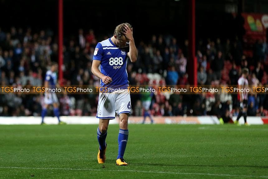 Maikel Kieftenbeld of Birmingham City walks to the dressing room after being sent off in the second half during Brentford vs Birmingham City, Sky Bet EFL Championship Football at Griffin Park on 2nd October 2018