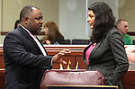 Nevada Assembly Democrats Jason Frierson and Olivia Diaz talk on the Assembly floor Friday morning, May 6, 2011, at the Legislature in Carson City, Nev..Photo by Cathleen Allison