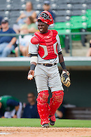Catcher Jair Fernandez #8 of the Rochester Red Wings grimaces after having been hit by a foul tip during an International League game against the Charlotte Knights at Knights Stadium August 1, 2010, in Fort Mill, South Carolina.  Photo by Brian Westerholt / Four Seam Images