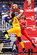 Washington, DC - June 15, 2018: Los Angeles Sparks forward Candace Parker (3) has her shot contested by Washington Mystics guard Ariel Atkins (7) during game between the Washington Mystics and Los Angeles Sparks at the Capital One Arena in Washington, DC. (Photo by Phil Peters/Media Images International)