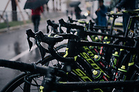bikes at the ready at the race start in torrential rained down Nice<br /> <br /> 76th Paris-Nice 2018<br /> Stage 8: Nice > Nice (110km)