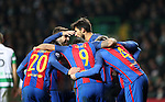 Lionel Messi of Barcelona celebrates with his team mates after he scores a penalty during the Champions League match at Celtic Park, Glasgow. Picture Date: 23rd November 2016. Pic taken by Lynne Cameron/Sportimage