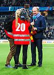 Stockholm 2013-10-27 Fotboll Allsvenskan Djurg&aring;rdens IF - Gefle IF :  <br /> Djurg&aring;rden huvudtr&auml;nare tr&auml;nare Per-Mathias H&ouml;gmo under en intervju med norsk TV i samband med att han blir avtackad och hyllad efter sista matchen som tr&auml;nare f&ouml;r Djurg&aring;rdens IF i Tele2 Arena<br /> (Foto: Kenta J&ouml;nsson) Nyckelord:  tr&auml;nare manager coach