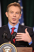 Thurmont, MD - March 27, 2003 -- British Prime Minister Tony Blair makes a point as he and United States  President George W. Bush meet reporters at Camp David, Maryland on March 27, 2003 following their talks on the progress of the Iraq War.<br /> Credit: Ron Sachs / Pool via CNP