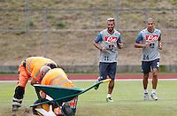 Valon Behrami  Gokhan Inler <br /> ritiro precampionato Napoli Calcio a  Dimaro 23 Luglio 2014<br /> <br /> Preseason summer training of Italy soccer team  SSC Napoli  in Dimaro Italy July 23, 2014