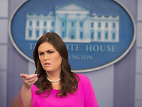 White House Press Secretary Sarah Huckabee Sanders holds her daily news briefing at the White House in Washington, DC, October 30, 2017. Photo Credit: Chris Kleponis/CNP/AdMedia