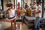 Havana, Cuba: Salsa band and dancers at the  Cafe Taberna (Cafe Beny More) in Old Havana