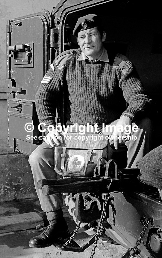 Sergeant Bill Watt, Royal Army Medical Corps, the paramedic from Aberdeen, Scotland, who saved the life of fellow soldier, Private Ian Jackson, 1 BN Light Infantry,with an on-the-spot tracheotomy when he was seriously injured in a Provisional IRA  bomb attack on Crossmaglen Police Station, 28th August 1973. 197310290660c<br />