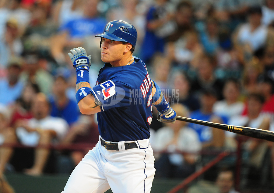 Jun. 18, 2008; Arlington, TX, USA; Texas Rangers right fielder Josh Hamilton against the Atlanta Braves at the Rangers Ballpark. Mandatory Credit: Mark J. Rebilas-