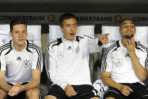06.09.2013. Allianz Arena, Munich, Germany. Julian Draxler, Max Kruse and Sidney Sat ger on the Substitutes bench. Germany versus Austria  World Cup Qualification Munich