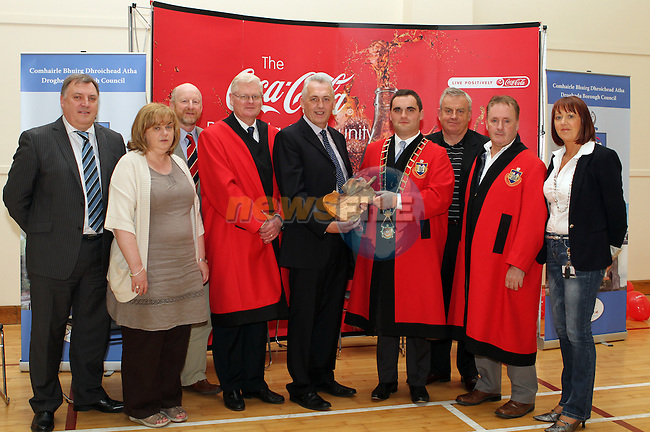 Tony Campion, Coca Cola, Joan Martin, Town Clerk, Cllr Anthony Donohue, Cllr Frank Maher, Gerry Leydon, Coca Cola, Mayor Kevin Callan, Jack Gogarty, Coca Cola, Cllr Ken O Heiligh and Mary T Daly, Drogheda Borough Council at the Official Opening of the Coca Cola drogheda Community Centre....Photo NEWSFILE/Jenny Matthews.
