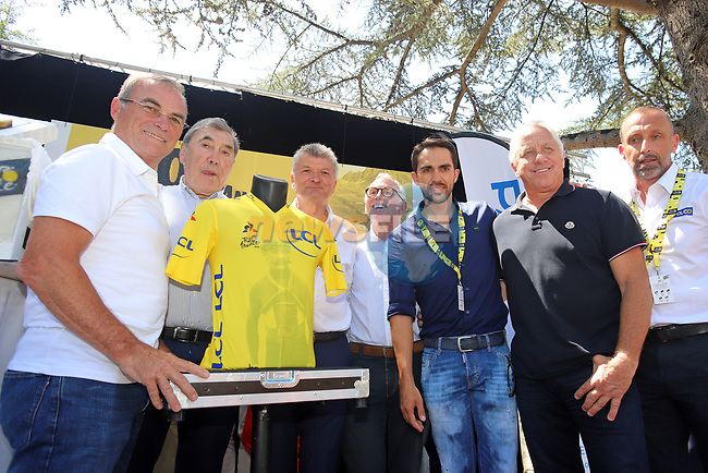 Celebrating 100 years of the Yellow Jersey with Bernard Hinault, Eddy Merckx, Bernard Thevenet, Joop Zoetemelk, Alberto Contador, Greg Le Mond and Luc Leblanc before Stage 13 of the 2019 Tour de France an individual time trial running 27.2km from Pau to Pau, France. 19th July 2019.<br /> Picture: ASO/Olivier Chabe | Cyclefile<br /> All photos usage must carry mandatory copyright credit (© Cyclefile | ASO/Olivier Chabe)
