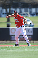 Rutgers University Scarlet Knights infielder Chris Suseck (41) during practice before a game against the University of Cincinnati Bearcats at Bainton Field on April 19, 2014 in Piscataway, New Jersey. Rutgers defeated Cincinnati 4-1.  (Tomasso DeRosa/ Four Seam Images)