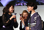 """November 11, 2018, Tokyo, Japan - Japanese actresses Yuna Taira (L) and Mao Daichi toast as they received the """"Nail Queen Award 2018"""" at the annual Tokyo Nail Expo in Tokyo on Sunday, November 11, 2018.    (Photo by Yoshio Tsunoda/AFLO) LWX -ytd-"""