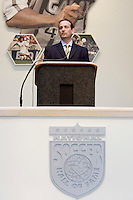 MLS commissioner Don Garber introducing 2004 inductee Paul Caligiuri during the 2004 National Hall of Fame Induction Ceremony on Monday October 11, 2004 at the National Soccer Hall of Fame and Museum, Oneonta, NY..