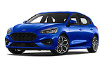 Stock pictures of low aggressive front three quarter view of a 2018 Ford Focus ST Line Business 4 Door Hatchback