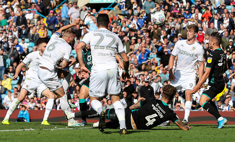 Leeds United's Liam Cooper goes close in the closing stages of the first half<br /> <br /> Photographer Alex Dodd/CameraSport<br /> <br /> The EFL Sky Bet Championship - Leeds United v Swansea City - Saturday 31st August 2019 - Elland Road - Leeds<br /> <br /> World Copyright © 2019 CameraSport. All rights reserved. 43 Linden Ave. Countesthorpe. Leicester. England. LE8 5PG - Tel: +44 (0) 116 277 4147 - admin@camerasport.com - www.camerasport.com