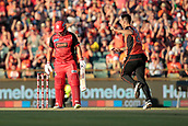 8th January 2018, The WACA, Perth, Australia; Australian Big Bash Cricket, Perth Scorchers versus Melbourne Renegades; Mitchell Johnson of the Perth Scorchers claims the wicket of Aaron Finch of the Melbourne Renegades for 2