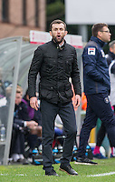 Luton Town Manager Nathan Jones shouts orders during the Sky Bet League 2 match between Wycombe Wanderers and Luton Town at Adams Park, High Wycombe, England on 6 February 2016. Photo by Andy Rowland.