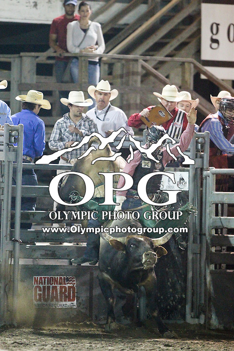 20 Aug 2014:  Jeff Askey was not able to score in the finals of the Seminole Hard Rock Extreme Bulls competition at the Kitsap County Stampede in Bremerton, Washington.