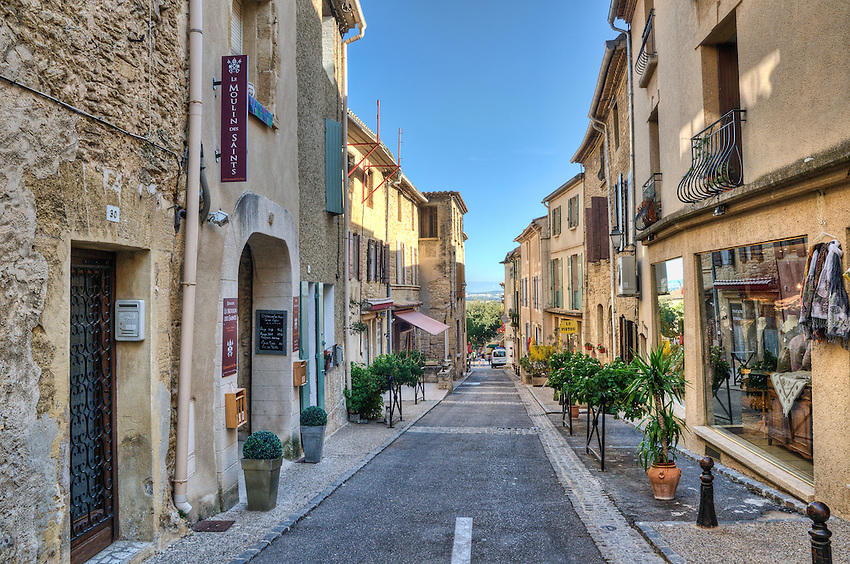 A street in the famous wine town of Châteauneuf du Pape, located in Provence near Avignon.