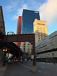 """Chicago, Illinois, United States of America / USA; December 27, 2016 -- Viaduct of Chicago """"L"""" (short for """"elevated""""), the rapid transit system,  'entering' Wabash Avenue -- Photo: © HorstWagner.eu"""