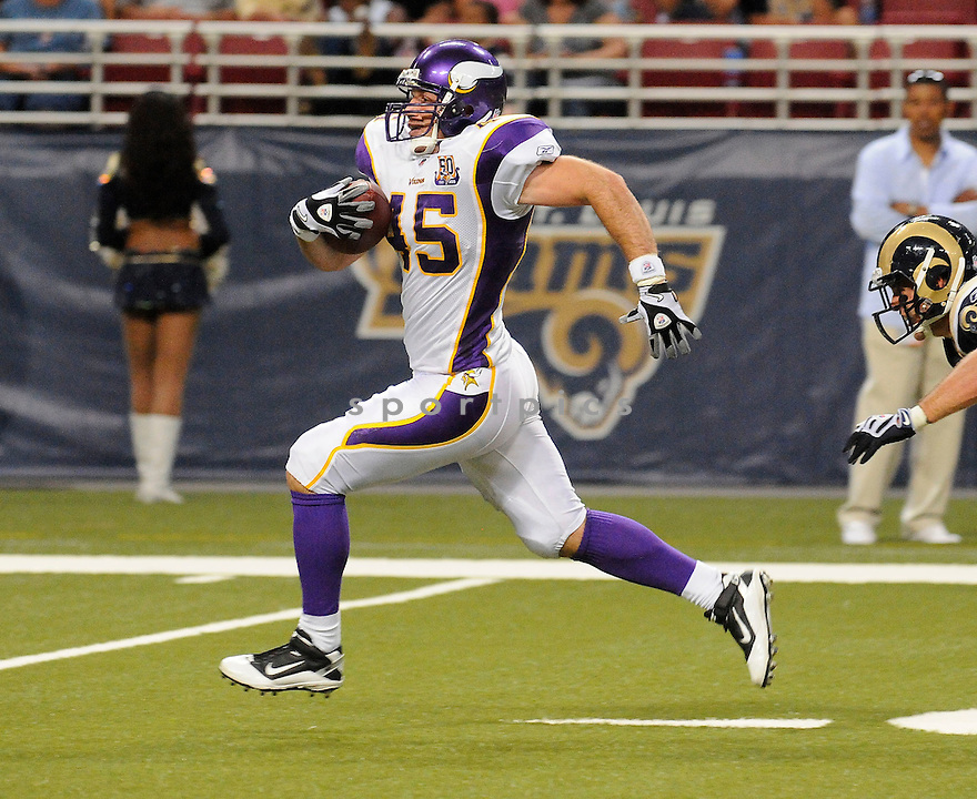 GARRETT MILLS, of the Minnesota Vikings ,in action during the Vikings  game against the  St. Louis Rams at Edward Jones Dome in St. Louis Missouri on August14, 2010.  The Vikings won the game 28-17..