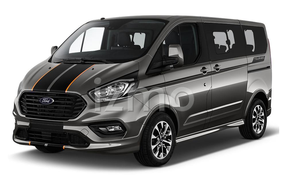 2018 Ford Tourneo Custom Sport 5 Door Passenger Van angular front stock photos of front three quarter view