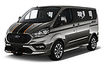 2018 Ford Tourneo Custom Sport 5 Door Passenger Van angular front stock photos of front three quarter view