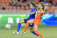 Houston, TX - Sunday Sept. 25, 2016: Lauren Barnes, Janine Beckie during a regular season National Women's Soccer League (NWSL) match between the Houston Dash and the Seattle Reign FC at BBVA Compass Stadium.