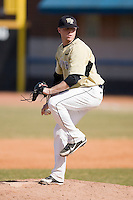 Relief pitcher Ryan Bouton #14 of the Wake Forest Demon Deacons in action versus the Xavier Musketeers at Wake Forest Baseball Park March 7, 2010, in Winston-Salem, North Carolina.  Photo by Brian Westerholt / Four Seam Images