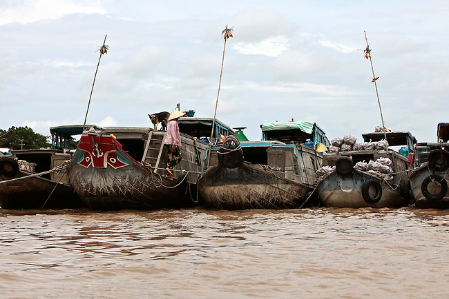 Boats are anchored in a row on the Hau River in the Mekong Delta, south of Can Tho, Vietnam. Sept. 30, 2011.