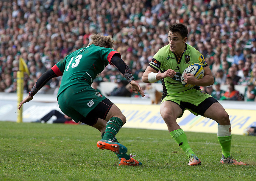 Northampton Saints' Dominic Waldouck faces up to Leicester Tigers' Mathew Tait<br /> <br /> Photographer Stephen White/CameraSport<br /> <br /> Rugby Union - Aviva Premiership - Leicester Tigers v Northampton Saints - Saturday 16th May 2015 - Welford Road - Leicester<br /> <br /> &copy; CameraSport - 43 Linden Ave. Countesthorpe. Leicester. England. LE8 5PG - Tel: +44 (0) 116 277 4147 - admin@camerasport.com - www.camerasport.com