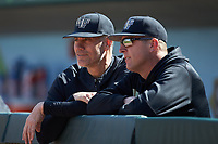 Wake Forest Demon Deacons head coach Tom Walter (left) and hitting coach Bill Cilento (right) prior to the game against the Furman Paladins at BB&T BallPark on March 2, 2019 in Charlotte, North Carolina. The Demon Deacons defeated the Paladins 13-7. (Brian Westerholt/Four Seam Images)