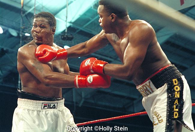 LAS VEGAS - DECEMBER 3:  Riddick Bowe (L) v. Larry Donald (R); wUD12; WBC continental Americas Heavyweight title