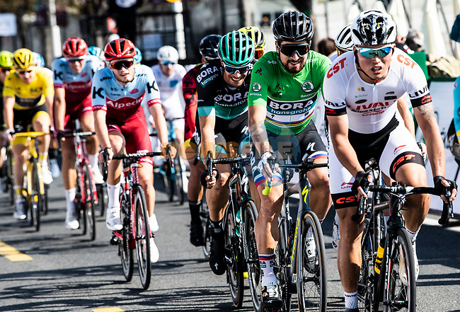 Peter Sagan (SVK) and Daniel Oss (ITA) Bora-Hansgrohe during the 2018 Shanghai Criterium, Shanghai, China. 17th November 2018.<br /> Picture: ASO/Alex Broadway | Cyclefile<br /> <br /> <br /> All photos usage must carry mandatory copyright credit (&copy; Cyclefile | ASO/Alex Broadway)