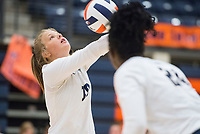 NWA Democrat-Gazette/BEN GOFF @NWABENGOFF<br /> Lexi Carter of Bentonville West sets the ball in the 3rd set vs Rogers Heritage Thursday, Sept. 13, 2018, at War Eagle Arena in Rogers.