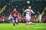 S&ouml;dert&auml;lje 2014-11-09 Fotboll Kval till Superettan Assyriska FF - &Ouml;rgryte IS :  <br /> Assyriskas Sotiris Papagiannopoulus i kamp om bollen med &Ouml;rgrytes David Leinar under matchen mellan Assyriska FF och &Ouml;rgryte IS <br /> (Foto: Kenta J&ouml;nsson) Nyckelord:  S&ouml;dert&auml;lje Fotbollsarena Kval Superettan Assyriska AFF &Ouml;rgryte &Ouml;IS
